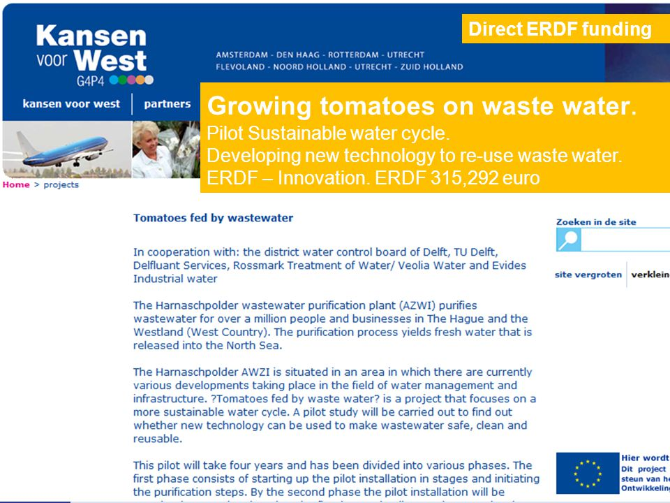 Growing tomatoes on waste water. Pilot Sustainable water cycle.