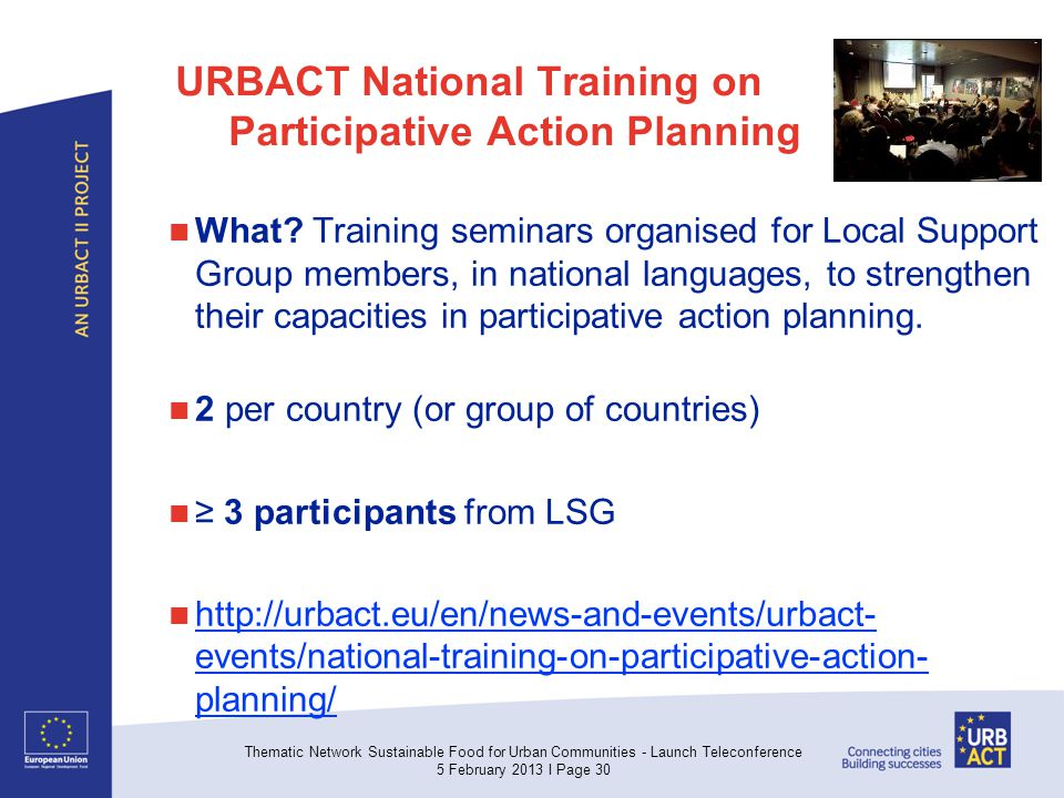 URBACT National Training on Participative Action Planning What.