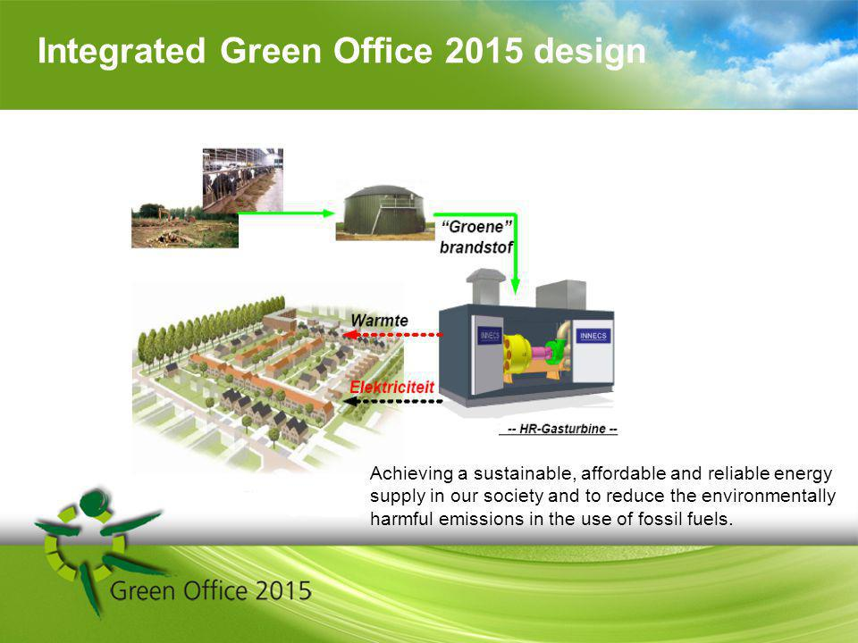 Integrated Green Office 2015 design Achieving a sustainable, affordable and reliable energy supply in our society and to reduce the environmentally harmful emissions in the use of fossil fuels.