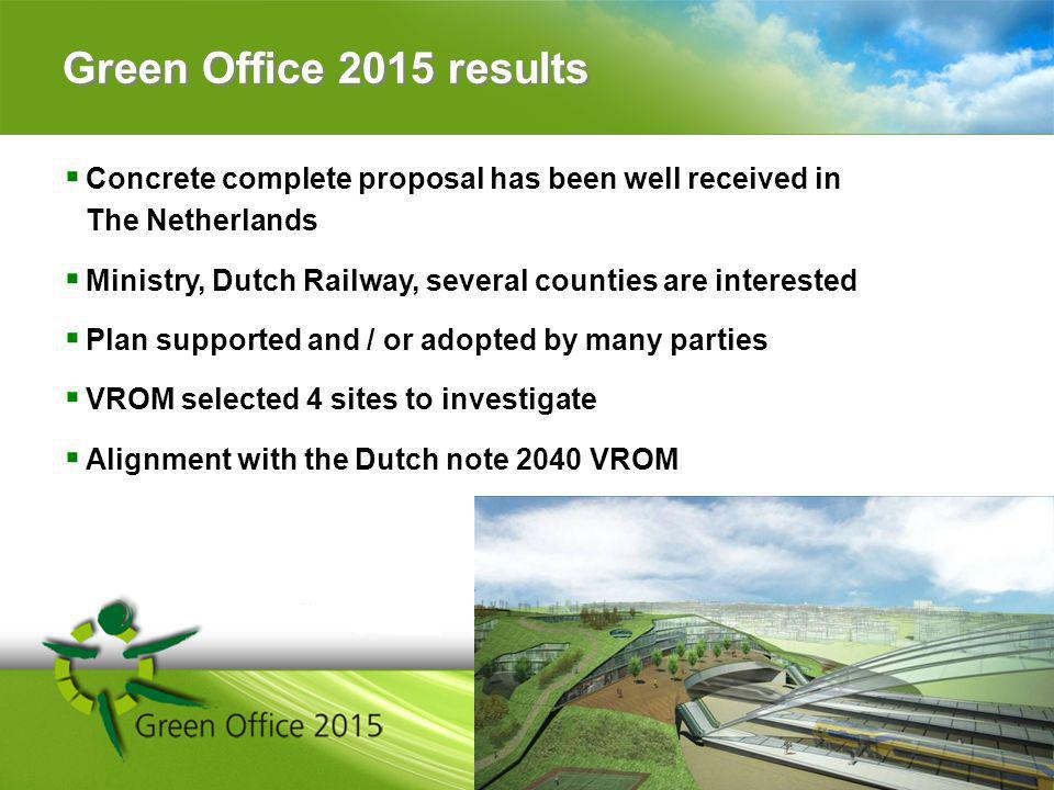 Green Office 2015 results Concrete complete proposal has been well received in The Netherlands Ministry, Dutch Railway, several counties are interested Plan supported and / or adopted by many parties VROM selected 4 sites to investigate Alignment with the Dutch note 2040 VROM