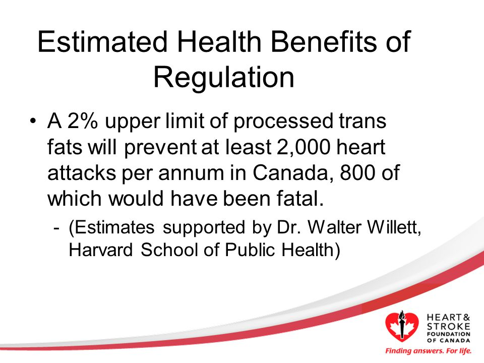 Estimated Health Benefits of Regulation A 2% upper limit of processed trans fats will prevent at least 2,000 heart attacks per annum in Canada, 800 of which would have been fatal.