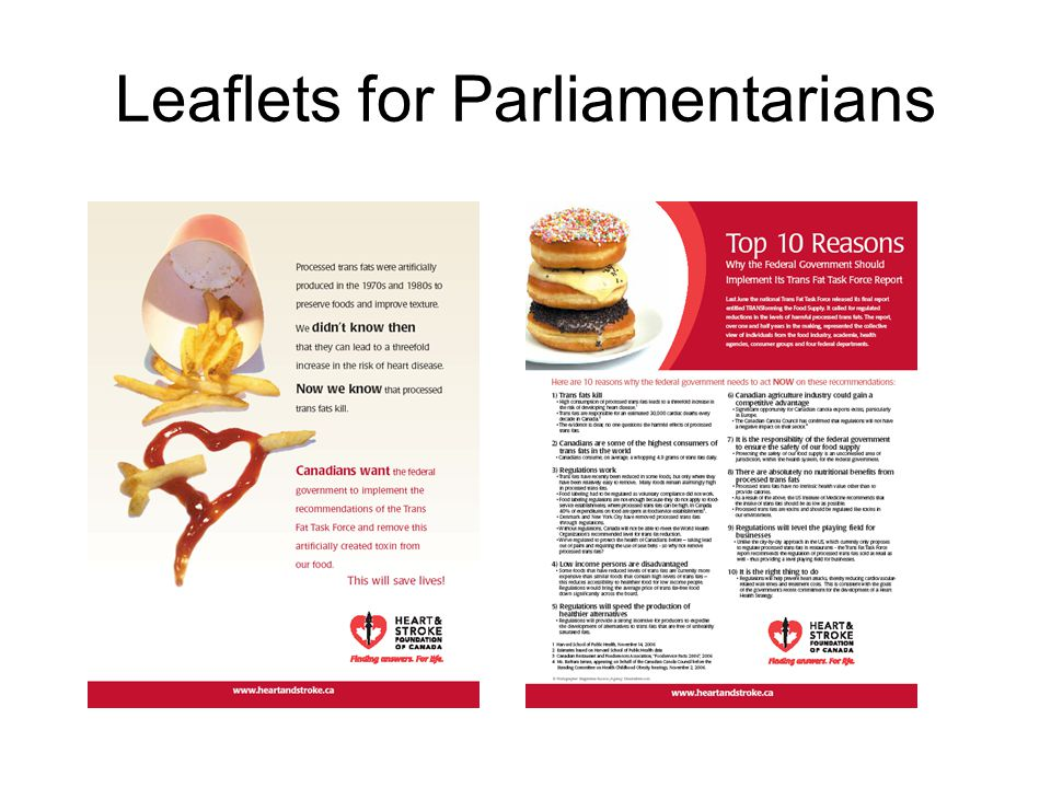 Leaflets for Parliamentarians