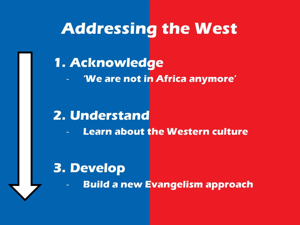 Addressing the West 1.Acknowledge We are not in Africa anymore 2.Understand Learn about the Western culture 3.Develop Build a new Evangelism approach