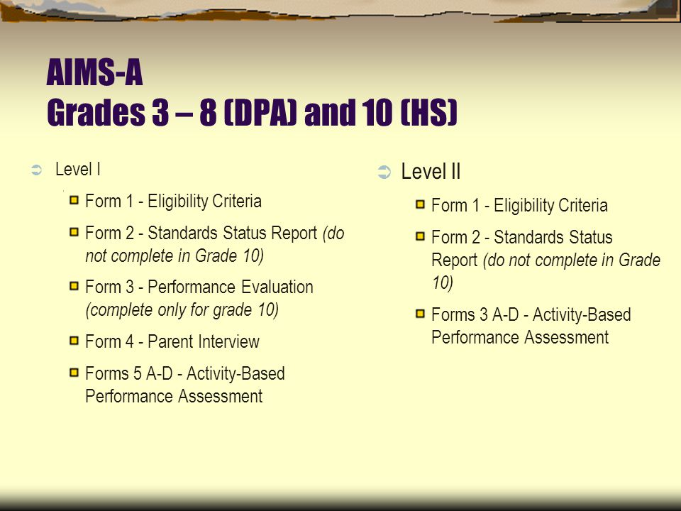AIMS-A Grades 3 – 8 (DPA) and 10 (HS) Level I Form 1 - Eligibility Criteria Form 2 - Standards Status Report (do not complete in Grade 10) Form 3 - Performance Evaluation (complete only for grade 10) Form 4 - Parent Interview Forms 5 A-D - Activity-Based Performance Assessment Level II Form 1 - Eligibility Criteria Form 2 - Standards Status Report (do not complete in Grade 10) Forms 3 A-D - Activity-Based Performance Assessment
