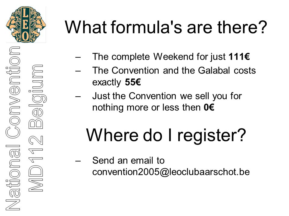 What formula s are there.