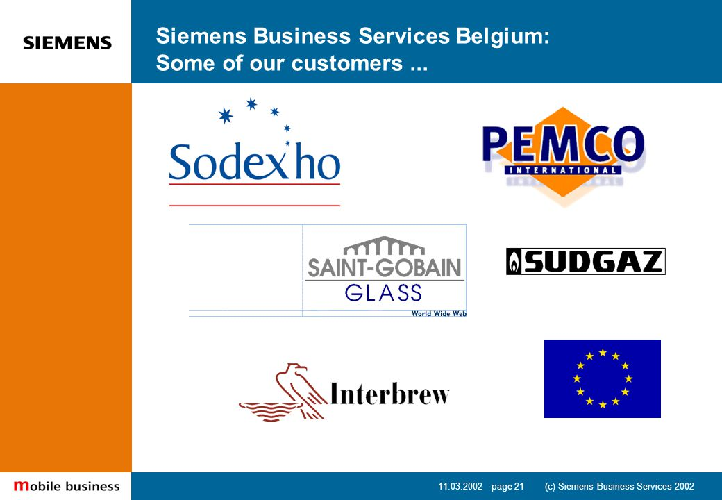 11.03.2002 page 21 (c) Siemens Business Services 2002 Siemens Business Services Belgium: Some of our customers...