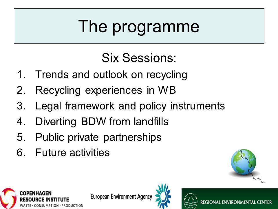 The programme Six Sessions: 1.Trends and outlook on recycling 2.Recycling experiences in WB 3.Legal framework and policy instruments 4.Diverting BDW from landfills 5.Public private partnerships 6.Future activities