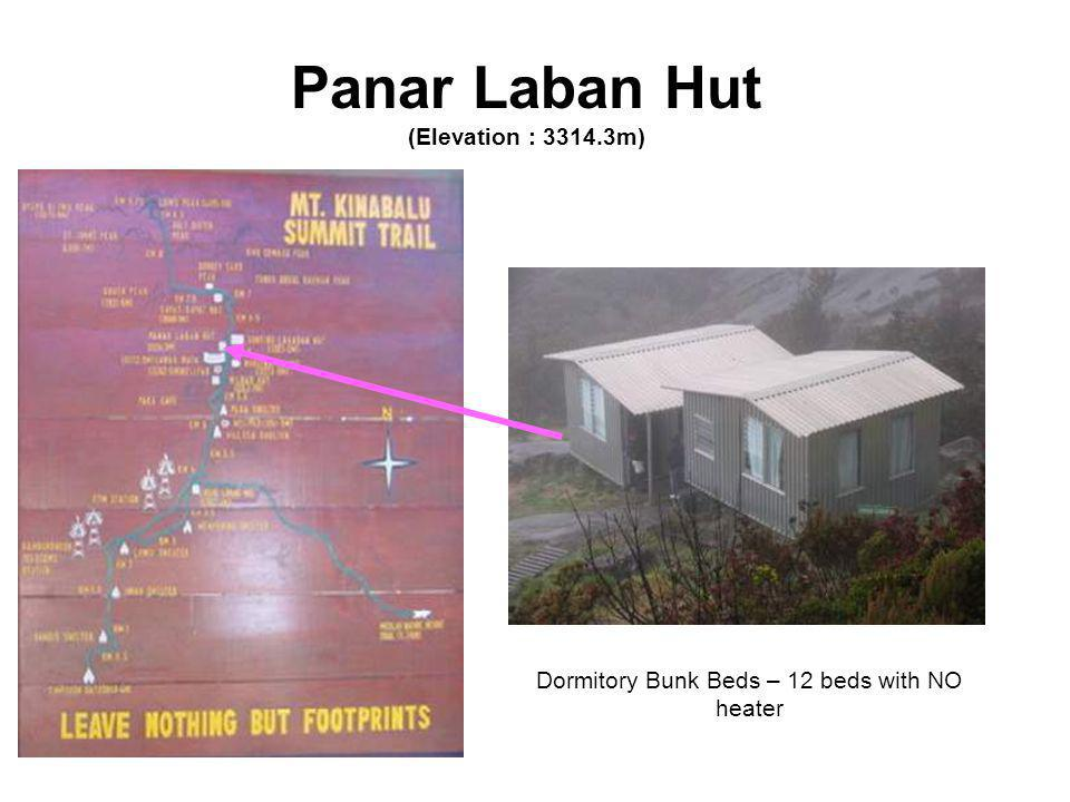 Panar Laban Hut (Elevation : 3314.3m) Dormitory Bunk Beds – 12 beds with NO heater