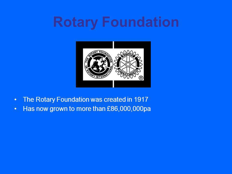 Rotary Foundation The Rotary Foundation was created in 1917 Has now grown to more than £86,000,000pa