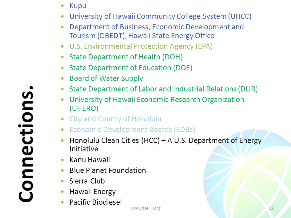 Kupu University of Hawaii Community College System (UHCC) Department of Business, Economic Development and Tourism (DBEDT), Hawaii State Energy Office U.S.