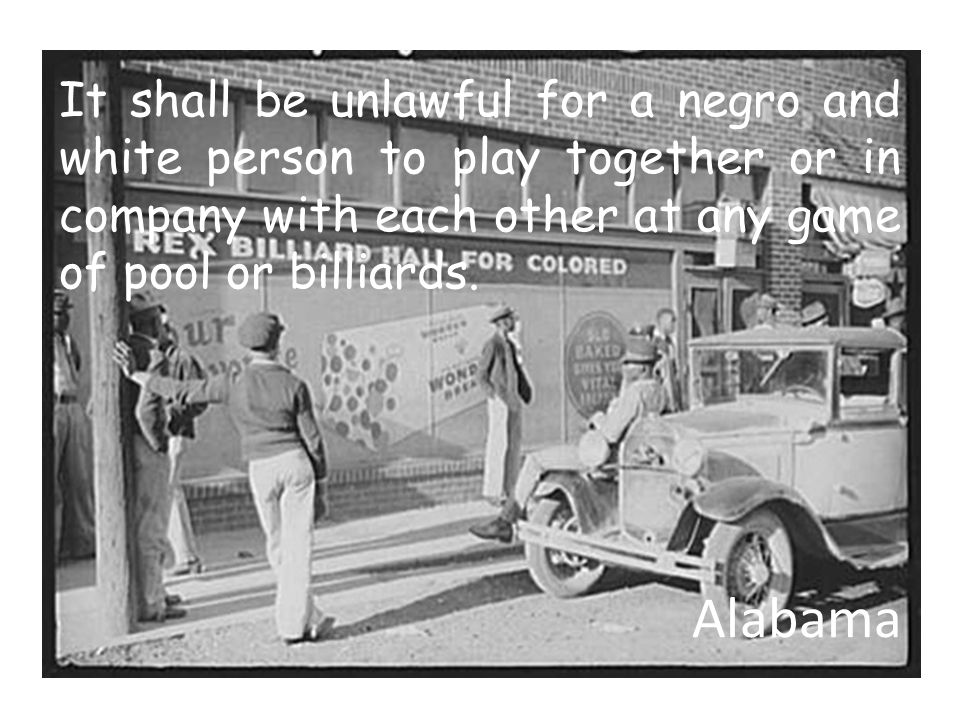 It shall be unlawful for a negro and white person to play together or in company with each other at any game of pool or billiards.