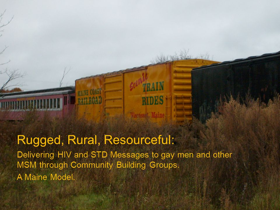 Rugged, Rural, Resourceful: Delivering HIV and STD Messages to gay men and other MSM through Community Building Groups.