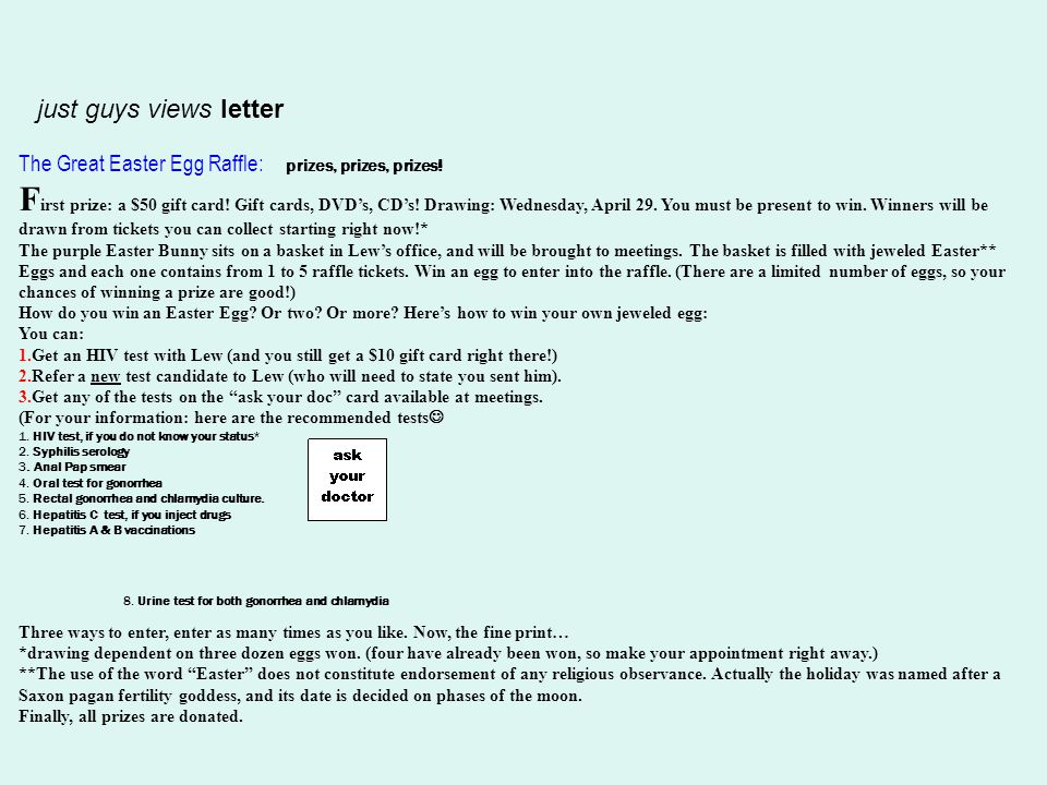 The Great Easter Egg Raffle: prizes, prizes, prizes.