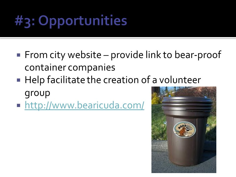 From city website – provide link to bear-proof container companies Help facilitate the creation of a volunteer group http://www.bearicuda.com/