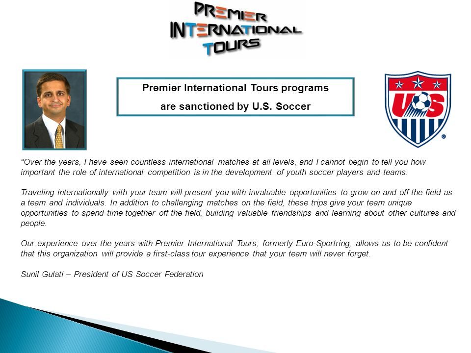 Over the years, I have seen countless international matches at all levels, and I cannot begin to tell you how important the role of international competition is in the development of youth soccer players and teams.