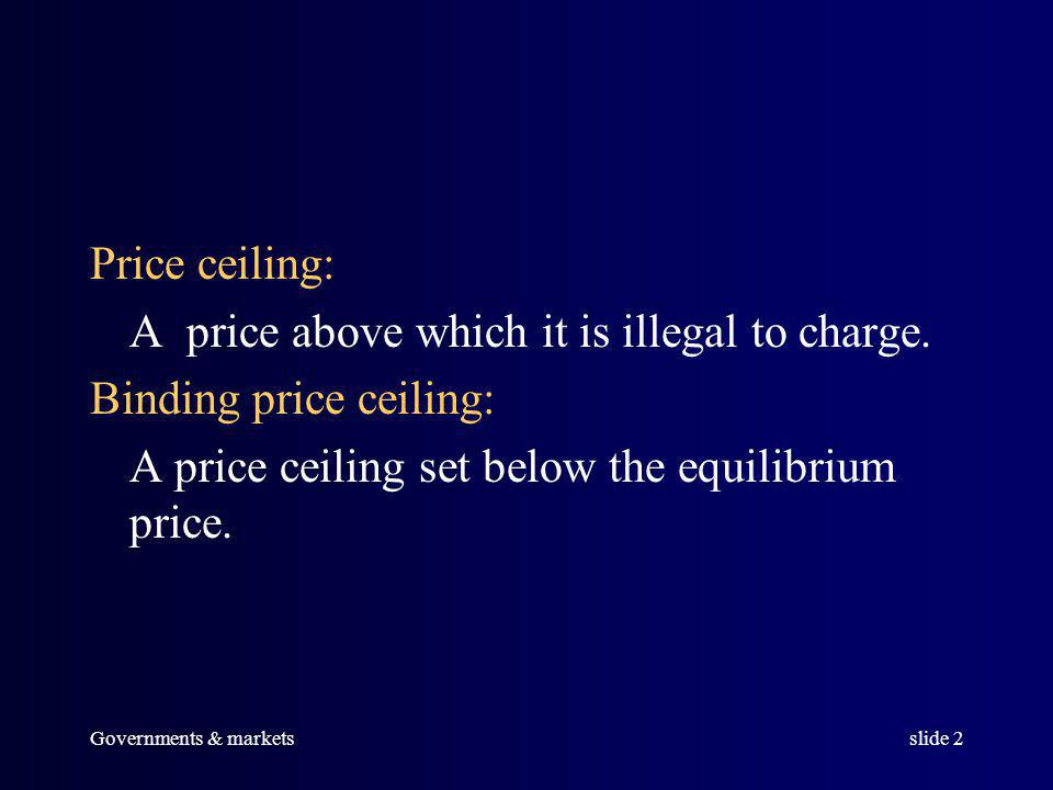 Governments & marketsslide 1 Price Ceilings, Price Floors, and Excise Taxes