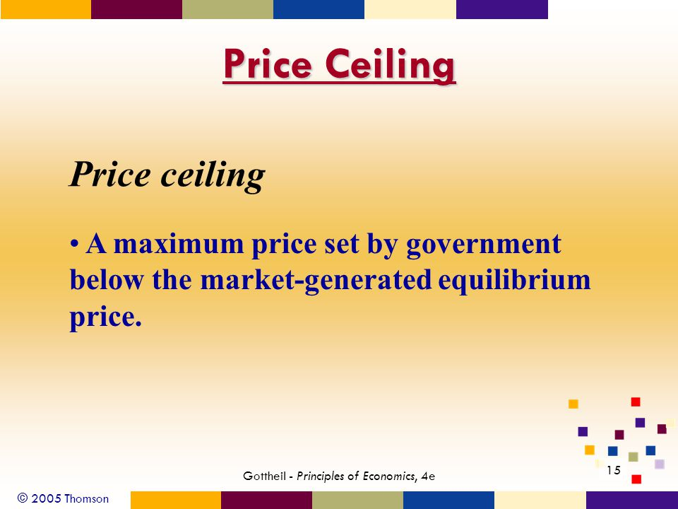 © 2005 Thomson 15 Gottheil - Principles of Economics, 4e Price Ceiling Price ceiling A maximum price set by government below the market-generated equilibrium price.