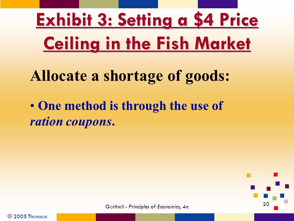 © 2005 Thomson 20 Gottheil - Principles of Economics, 4e Exhibit 3: Setting a $4 Price Ceiling in the Fish Market Allocate a shortage of goods: One method is through the use of ration coupons.
