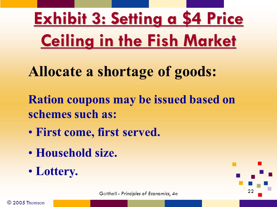 © 2005 Thomson 22 Gottheil - Principles of Economics, 4e Exhibit 3: Setting a $4 Price Ceiling in the Fish Market Allocate a shortage of goods: Ration coupons may be issued based on schemes such as: First come, first served.