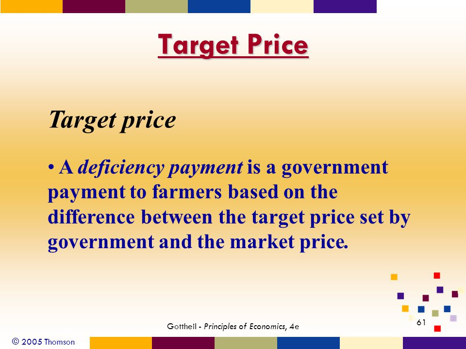 © 2005 Thomson 61 Gottheil - Principles of Economics, 4e Target Price Target price A deficiency payment is a government payment to farmers based on the difference between the target price set by government and the market price.