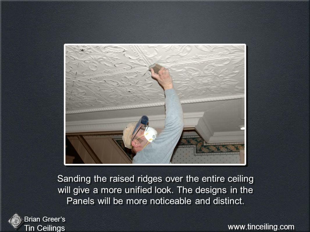 Sanding the raised ridges over the entire ceiling will give a more unified look.