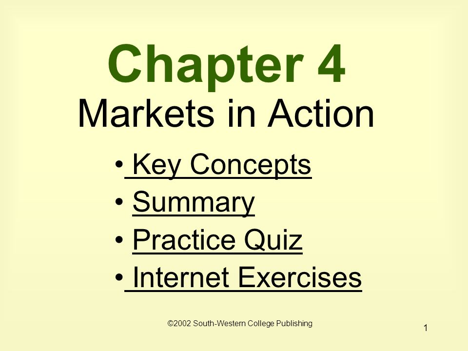 1 Chapter 4 Markets in Action Key Concepts Key Concepts Summary Practice Quiz Internet Exercises Internet Exercises ©2002 South-Western College Publishing