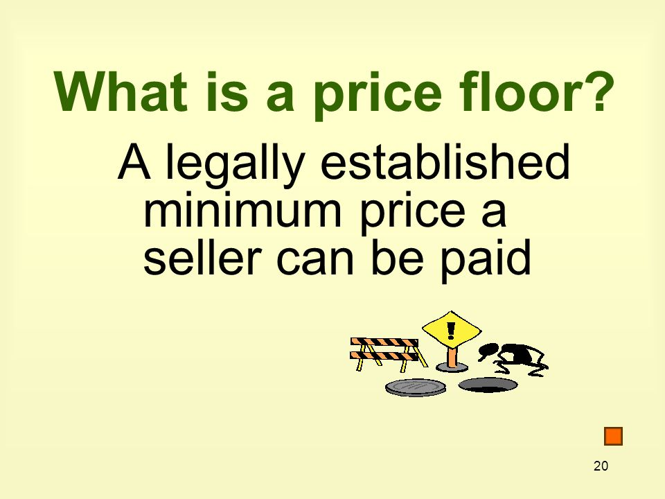 20 What is a price floor A legally established minimum price a seller can be paid