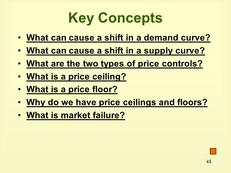 45 Key Concepts What can cause a shift in a demand curve.