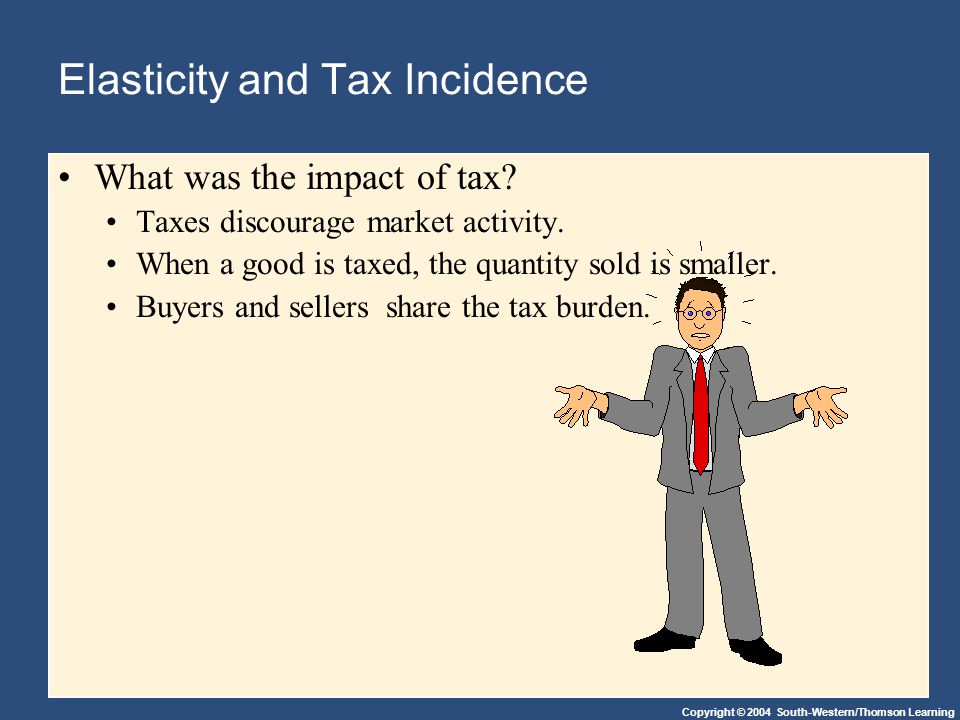 Copyright © 2004 South-Western/Thomson Learning Elasticity and Tax Incidence What was the impact of tax.