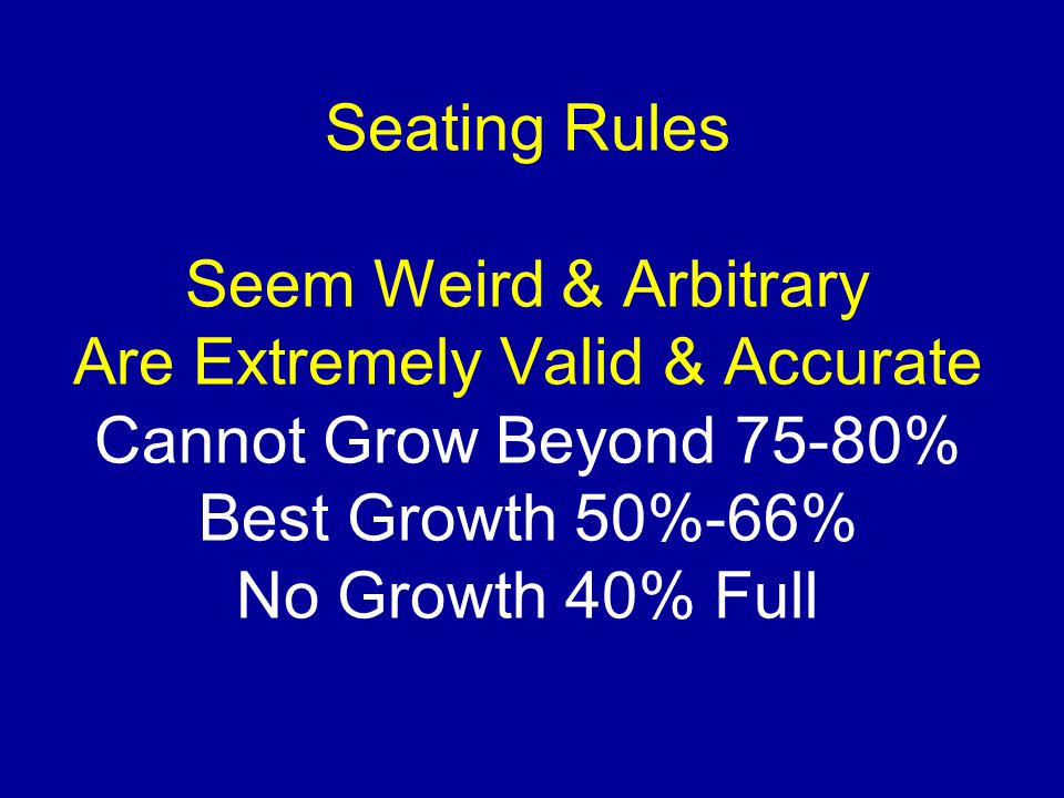 Seating Rules Seem Weird & Arbitrary Are Extremely Valid & Accurate Cannot Grow Beyond 75-80% Best Growth 50%-66% No Growth 40% Full