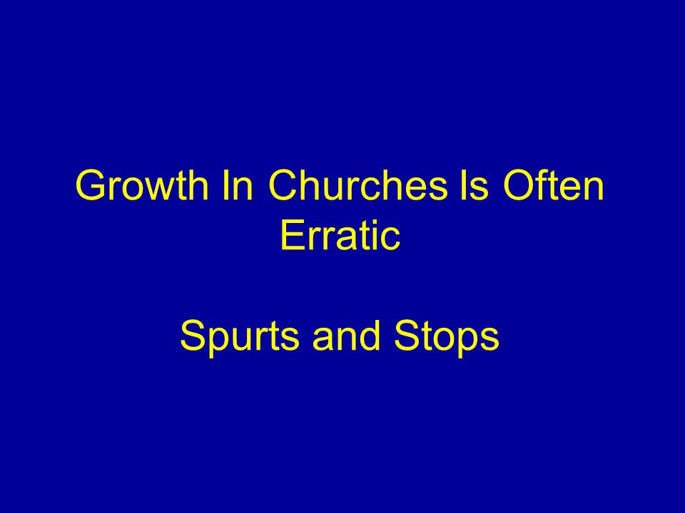 Growth In Churches Is Often Erratic Spurts and Stops