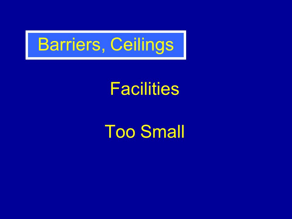 Facilities Too Small Barriers, Ceilings