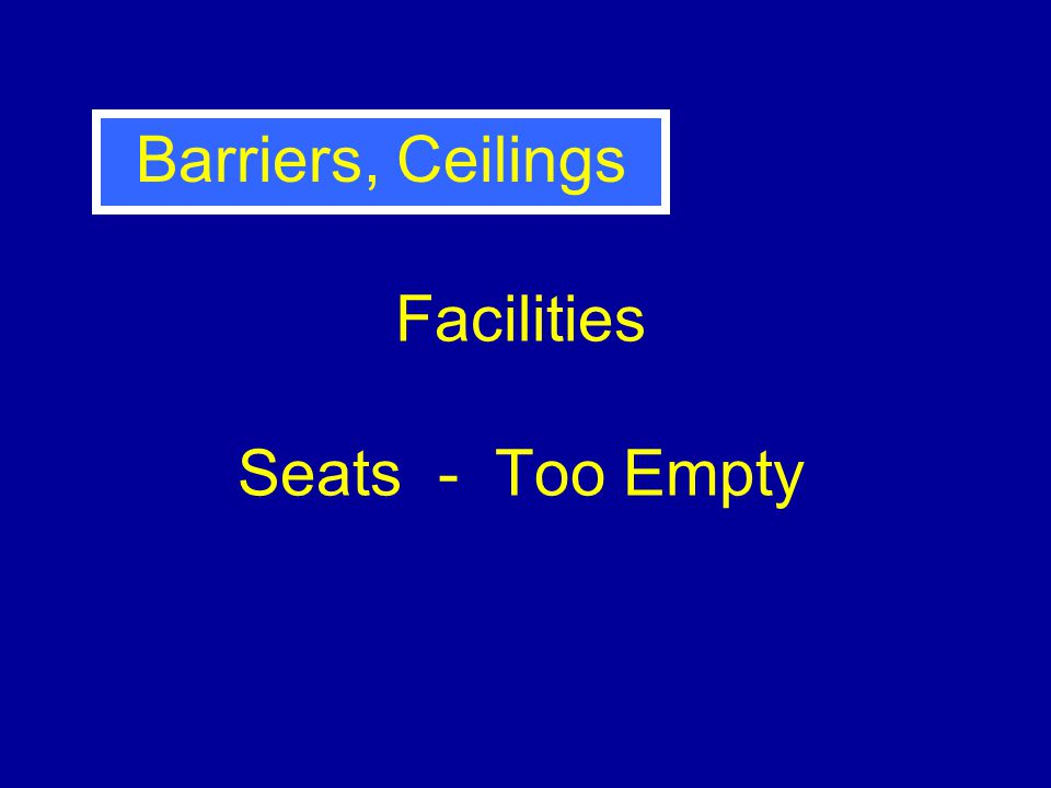 Facilities Seats - Too Empty Barriers, Ceilings