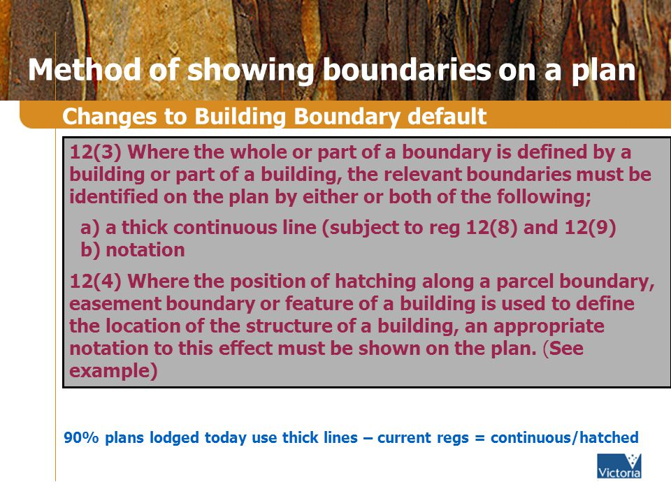 Method of showing boundaries on a plan 12(3) Where the whole or part of a boundary is defined by a building or part of a building, the relevant boundaries must be identified on the plan by either or both of the following; a) a thick continuous line (subject to reg 12(8) and 12(9) b) notation 12(4) Where the position of hatching along a parcel boundary, easement boundary or feature of a building is used to define the location of the structure of a building, an appropriate notation to this effect must be shown on the plan.