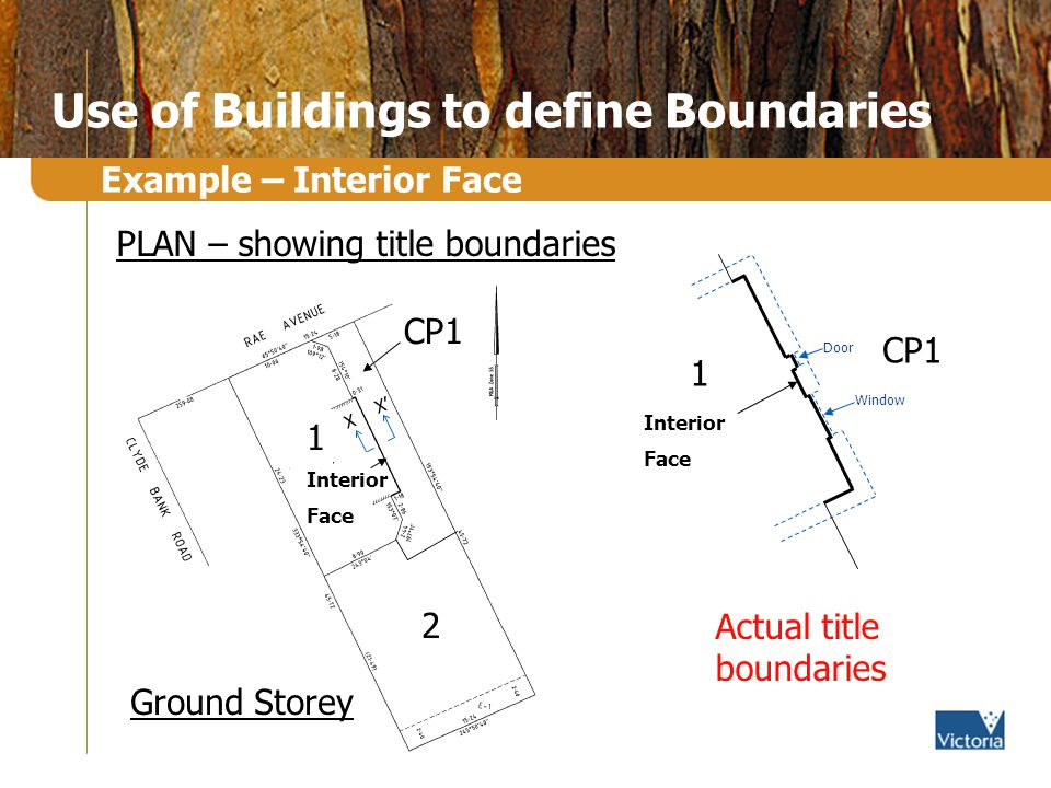 Use of Buildings to define Boundaries Example – Interior Face X X 1 Interior Face 2 CP1 Ground Storey X X PLAN – showing title boundaries Actual title boundaries Window Door Interior Face CP1 1