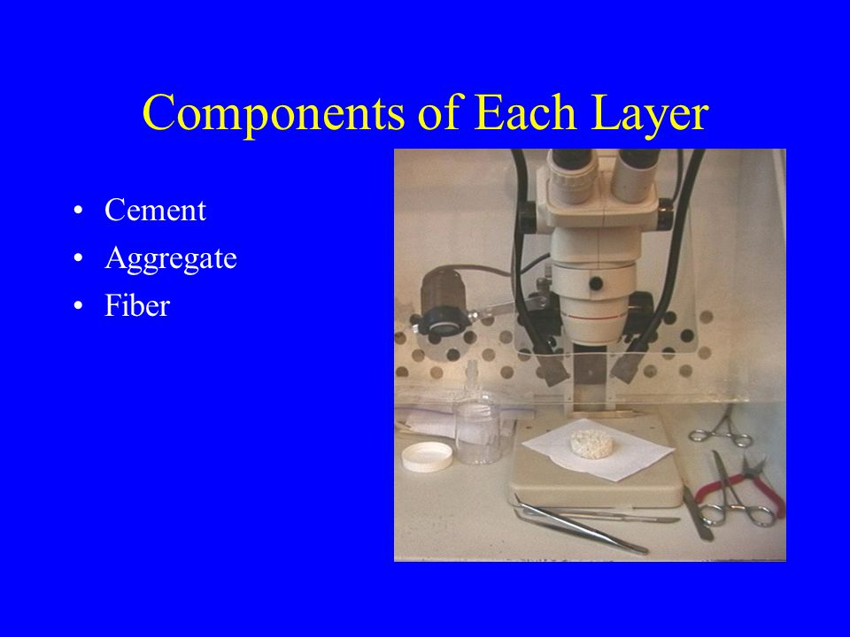 Components of Each Layer Cement Aggregate Fiber