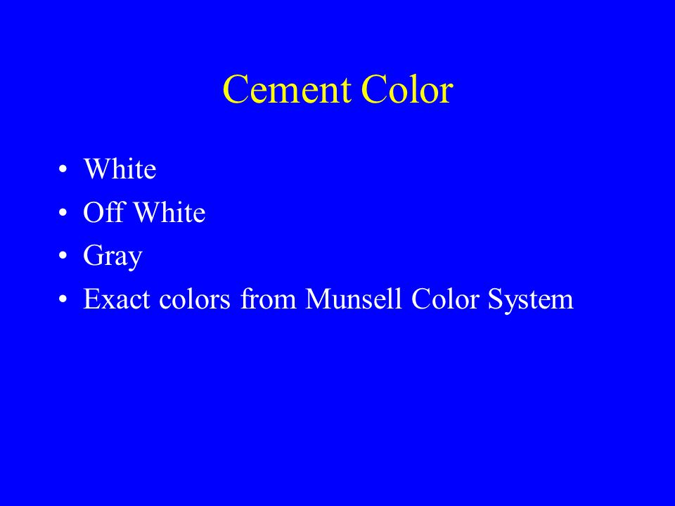 Cement Color White Off White Gray Exact colors from Munsell Color System