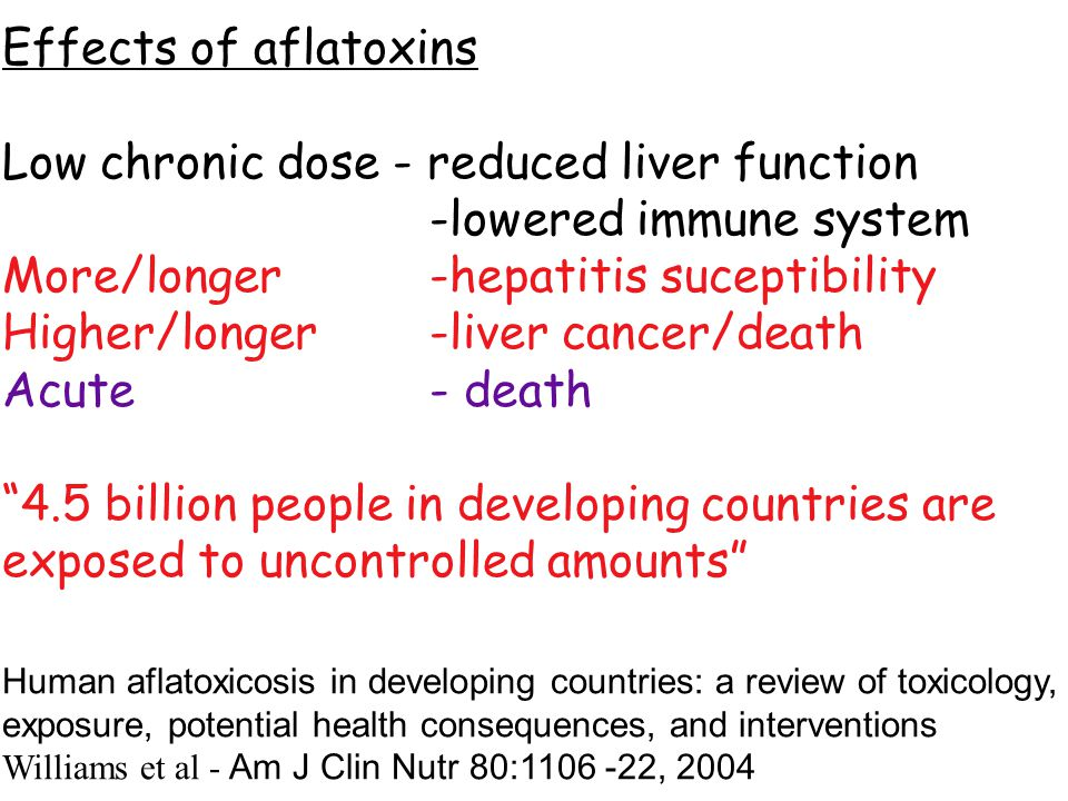 Effects of aflatoxins Low chronic dose - reduced liver function -lowered immune system More/longer -hepatitis suceptibility Higher/longer-liver cancer/death Acute- death 4.5 billion people in developing countries are exposed to uncontrolled amounts Human aflatoxicosis in developing countries: a review of toxicology, exposure, potential health consequences, and interventions Williams et al - Am J Clin Nutr 80:1106 -22, 2004