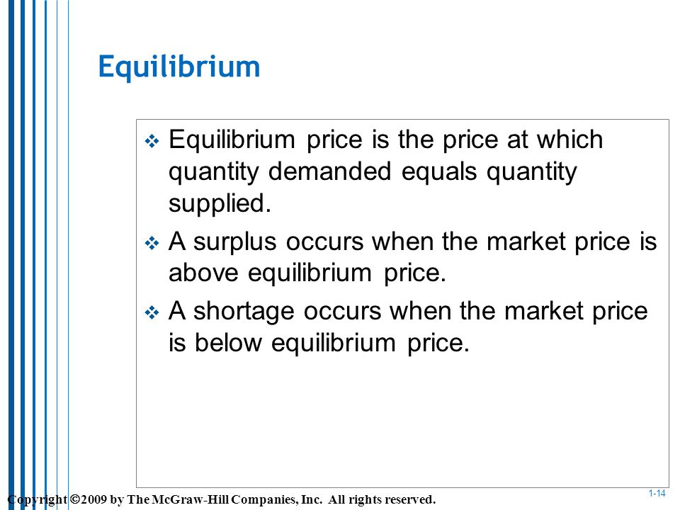 1-14 Equilibrium Equilibrium price is the price at which quantity demanded equals quantity supplied.
