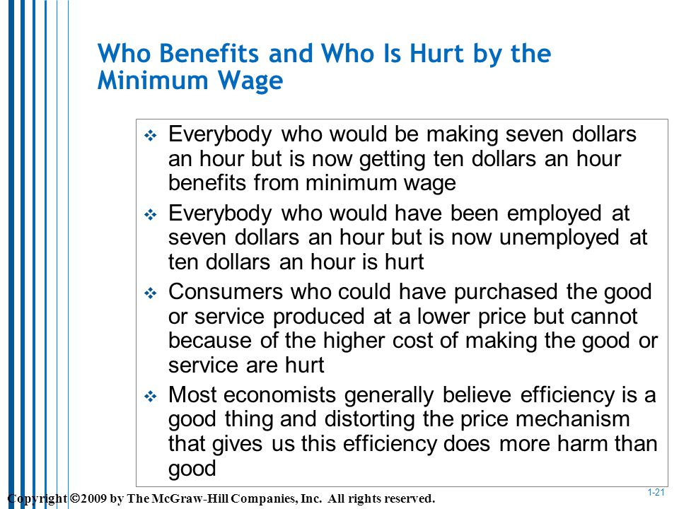 1-21 Who Benefits and Who Is Hurt by the Minimum Wage Everybody who would be making seven dollars an hour but is now getting ten dollars an hour benefits from minimum wage Everybody who would have been employed at seven dollars an hour but is now unemployed at ten dollars an hour is hurt Consumers who could have purchased the good or service produced at a lower price but cannot because of the higher cost of making the good or service are hurt Most economists generally believe efficiency is a good thing and distorting the price mechanism that gives us this efficiency does more harm than good Copyright 2009 by The McGraw-Hill Companies, Inc.