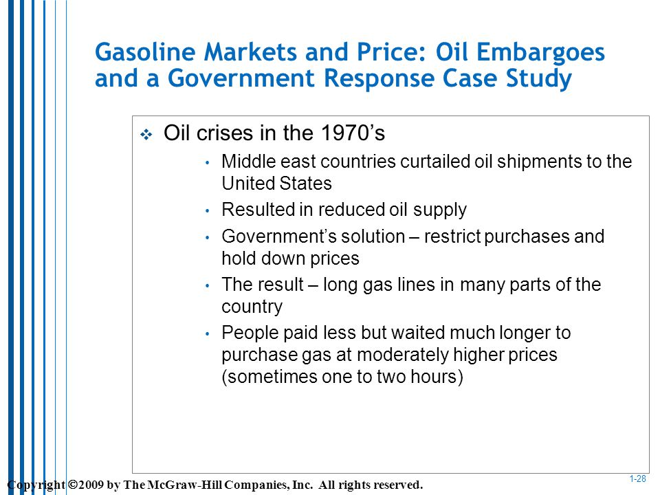 1-28 Gasoline Markets and Price: Oil Embargoes and a Government Response Case Study Oil crises in the 1970s Middle east countries curtailed oil shipments to the United States Resulted in reduced oil supply Governments solution – restrict purchases and hold down prices The result – long gas lines in many parts of the country People paid less but waited much longer to purchase gas at moderately higher prices (sometimes one to two hours) Copyright 2009 by The McGraw-Hill Companies, Inc.