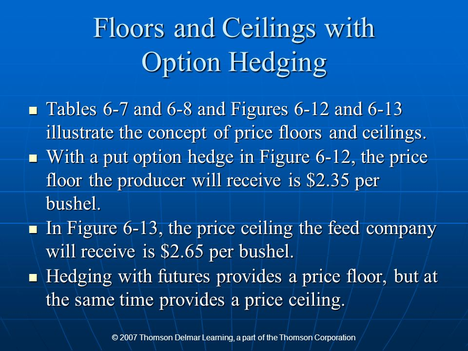 © 2007 Thomson Delmar Learning, a part of the Thomson Corporation Floors and Ceilings with Option Hedging Tables 6-7 and 6-8 and Figures 6-12 and 6-13 illustrate the concept of price floors and ceilings.