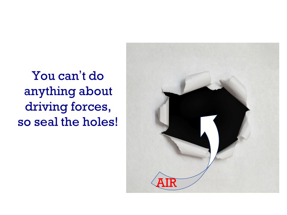 You cant do anything about driving forces, so seal the holes! AIR