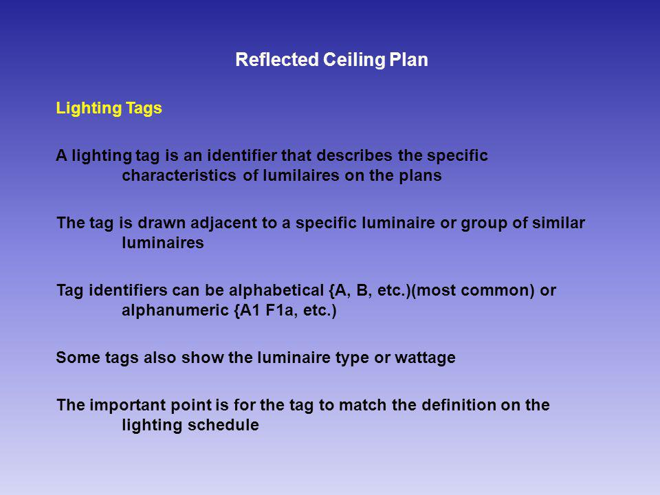 Reflected Ceiling Plan Lighting Tags A lighting tag is an identifier that describes the specific characteristics of lumilaires on the plans The tag is drawn adjacent to a specific luminaire or group of similar luminaires Tag identifiers can be alphabetical {A, B, etc.)(most common) or alphanumeric {A1 F1a, etc.) Some tags also show the luminaire type or wattage The important point is for the tag to match the definition on the lighting schedule