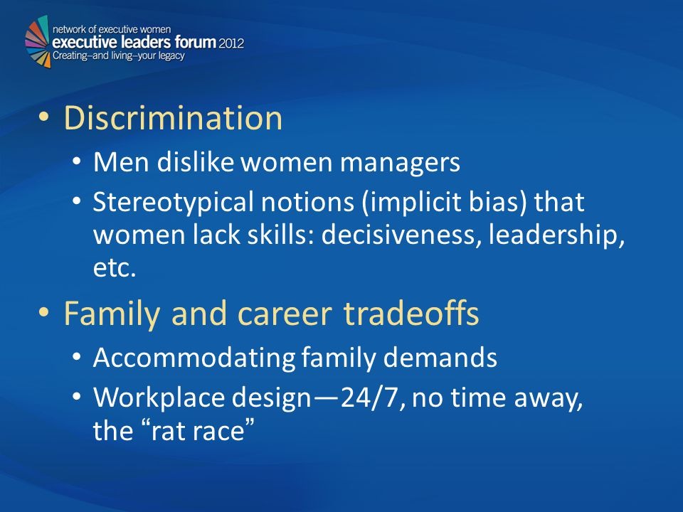 Discrimination Men dislike women managers Stereotypical notions (implicit bias) that women lack skills: decisiveness, leadership, etc.