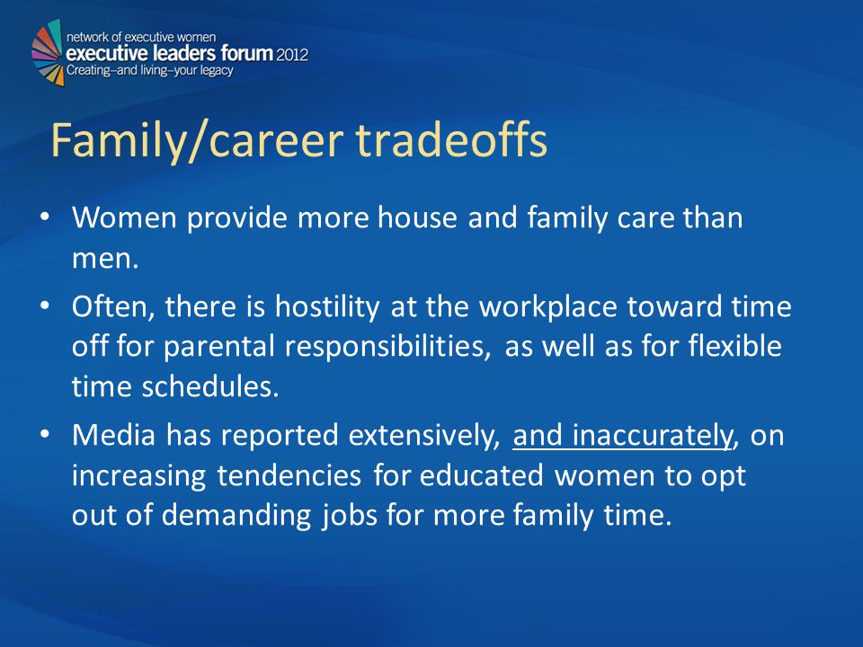 Family/career tradeoffs Women provide more house and family care than men.