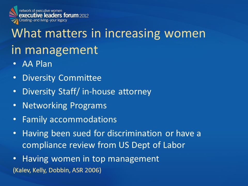What matters in increasing women in management AA Plan Diversity Committee Diversity Staff/ in-house attorney Networking Programs Family accommodations Having been sued for discrimination or have a compliance review from US Dept of Labor Having women in top management (Kalev, Kelly, Dobbin, ASR 2006)