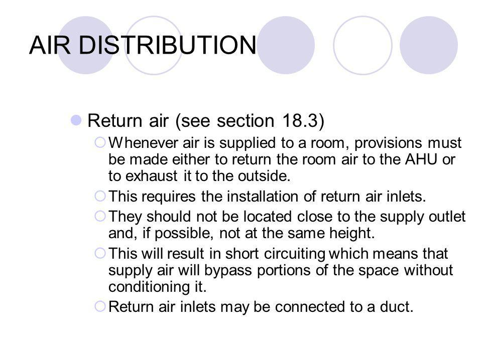 AIR DISTRIBUTION Return air (see section 18.3) Whenever air is supplied to a room, provisions must be made either to return the room air to the AHU or to exhaust it to the outside.