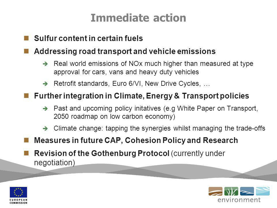 Sulfur content in certain fuels Addressing road transport and vehicle emissions Real world emissions of NOx much higher than measured at type approval for cars, vans and heavy duty vehicles Retrofit standards, Euro 6/VI, New Drive Cycles, … Further integration in Climate, Energy & Transport policies Past and upcoming policy initatives (e.g White Paper on Transport, 2050 roadmap on low carbon economy) Climate change: tapping the synergies whilst managing the trade-offs Measures in future CAP, Cohesion Policy and Research Revision of the Gothenburg Protocol (currently under negotiation) Immediate action