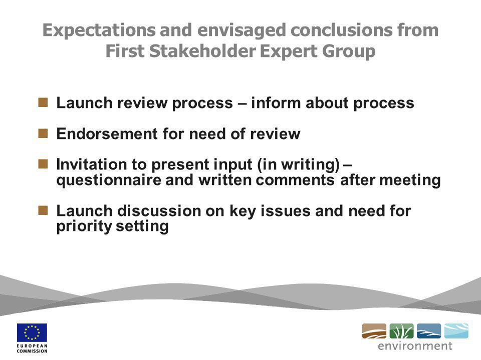 Expectations and envisaged conclusions from First Stakeholder Expert Group Launch review process – inform about process Endorsement for need of review Invitation to present input (in writing) – questionnaire and written comments after meeting Launch discussion on key issues and need for priority setting